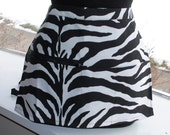 Vendor Apron Server Apron Cash Apron Travel Apron Zebra Black White Cotton Twill