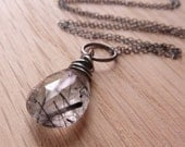Statement Bold Tourmalated Quartz Oxidized Sterling Silver Necklace, Gift for sister, mom, aunt, girlfriend, wife
