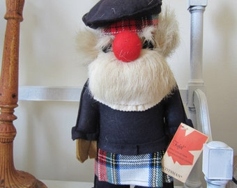 Scottish Man Doll Scotsman Original Te-Ri FUFEL Doll Reindeer Fur & Felt, Tall, Designer, Canada