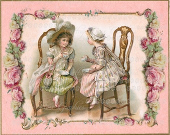 Large digital download victorian tea party pink roses buy 3 get one