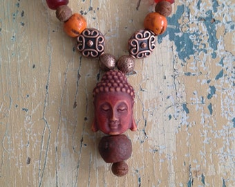 Buddha Bodhi Tribal Glass Wooden Seed Bead Necklace