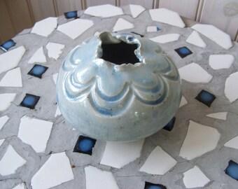 vintage handmade pottery vase light blue