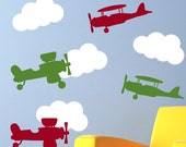 Planes and Clouds Children's Vinyl Wall Decals - Bedroom Decoration - Transportation Decal