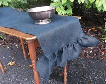 Last Available READY to SHIP Black Burlap Table Runner Ruffled Burlap Runner Halloween Decor French Country Farmhouse Tablecloth 18x94
