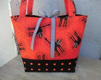 Scary Black Cat Halloween purse