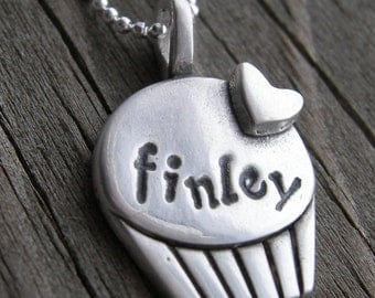 Personalized Valentine Heart Cupcake Sterling Silver PMC Necklace