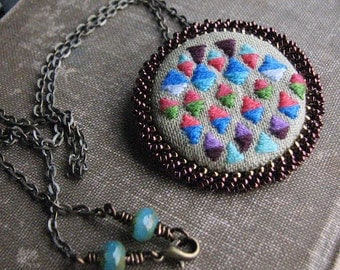 Diamond Pattern Necklace, Embroidered Fiber Art, Geometric Pattern Embroidery, Beaded Bezel with Brass Chain