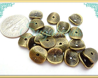 50 Curved Spacer Beads - Brass Spacer Beads - Wavy Spacer Beads 9mm