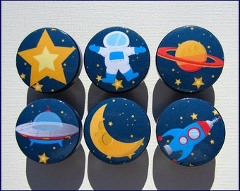 Space Knobs • Astronaut Dresser Knobs • Space • Rocket • Astronaut • Moon • Dresser Knobs • Drawer Knobs