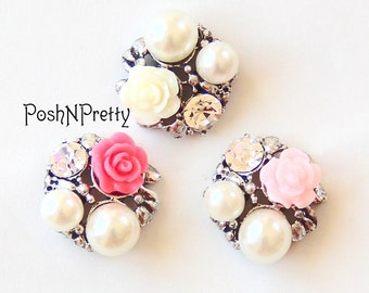 Set of 5 - Victorain Roses Pearl Button - Choose color - No shank - 20mm