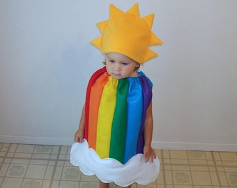 Baby Halloween Costume Rainbow Dress Up Rainbow Sun Cloud Photo Prop Girl Costume Infant Toddler Newborn