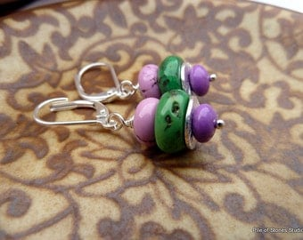 Calypso* Turquoise Gemstone & Sterling Earrings Dancing Purple Green Silver Colorful Earrings Organic Vivid Opaque Stone Leverback Jewelry