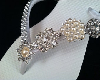 So Sweet Bride Limited Edition Jordan Pearl and Rhinestone Bridal Wedding Flip Flops