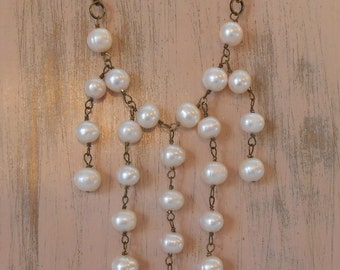 Cultured Freshwater Pearl and Antique Brass Waterfall Necklace Handmade Wire wrapped