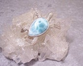 LARIMAR - Sea Turtle Centerpiece/Focal in Stone and Sterling Silver