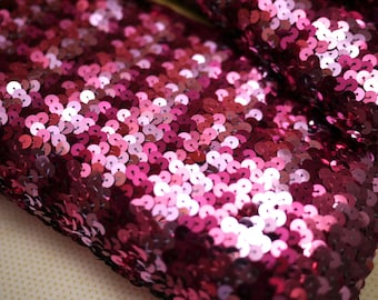 280cm Vintage Three Pink Sequin Elastic Trim / Fabric (Only Piece)