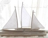 Crisp Summer White Linen Sails Set of Three Large Driftwood Sailboats Beach Decor for Mantel or Coastal Beachside Lakeside Themed Wedding - LoveEmbellished