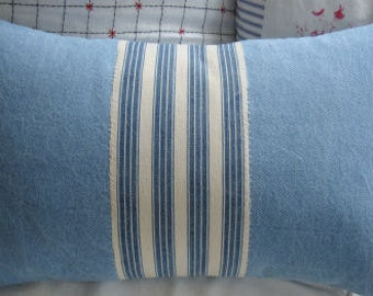 CottaGe Pillow FReNch TiCKiNG Shabby Chic Washed Faded Denim 12x20 Insert