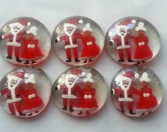 Hand painted large glass gems party favors christmas  santa and mrs.clause  santa claus