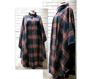 70s Plaid Cape Coat Poncho OS with Avant Garde Collar
