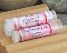 Passionfruit Rose Flavored Lip Balm with Mango and Shea Butters