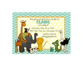 Customized Birthday/Baby Shower Invitation Printable - Zoo Animal Party Themed Invite