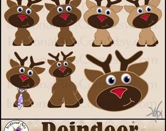 INSTANT DOWNLOAD Reindeer set 1 with 14 PNG files digital scrapbooking Clip Art reindeer Christmas Rudolph jingle collar