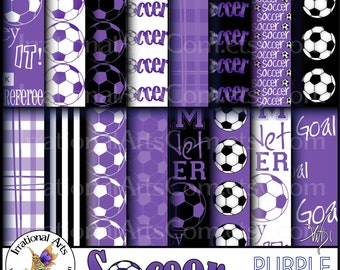 Soccer INSTANT DOWNLOAD digital paper 25 jpg files PURPLE soccer & title