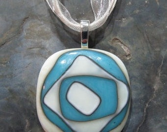 Fused Glass Pendant with Ribbon necklace: This Way N That A Way Reaction