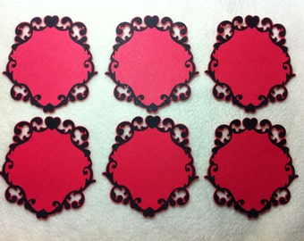 Lacy Labels...6 Piece Set of Very Elegant and Romantic Red/Black Love You Lacy Label #1 Scrapbooking Die Cut