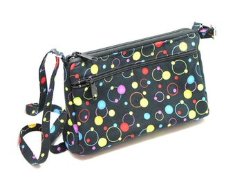 Sassy Cross Body Hipster with Adjustable Strap Black with Colorful Dots and Circles