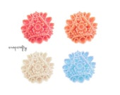 4pc ornate round floral vintage style cabochons / for creating jewelry / choose your colors