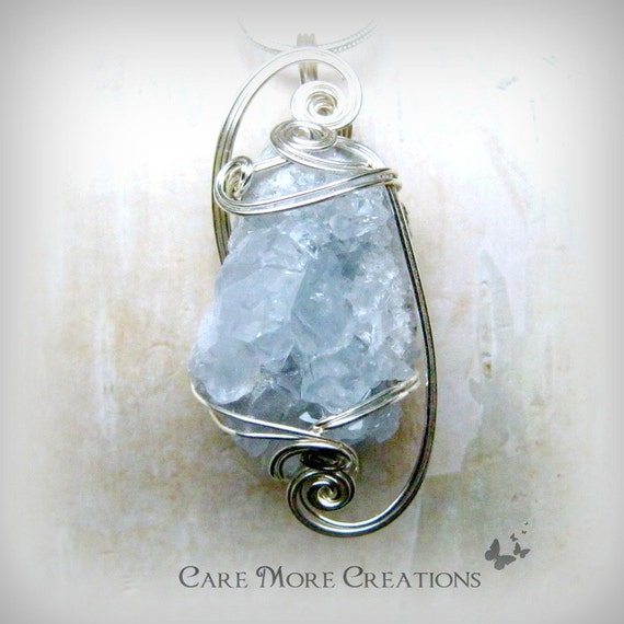 wire wrapped pendant blue celestite by
