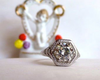 Moissanite Engagement Ring, Custom Antique Style Ring, 14kt White Gold, Art Deco Solitaire, Filigree Estate Jewelry C&S