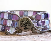 Leather Mosaic Tile Three Tiered Bracelet in Pink, Purple and White