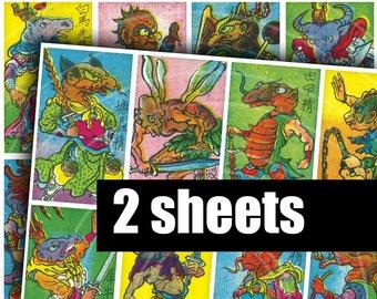 MONSTER MATCHES - Digital Printable Collage Sheet - Vintage Chinese Mythology Matchbox Labels, Asian Dragons, Samurai & Strange Creatures