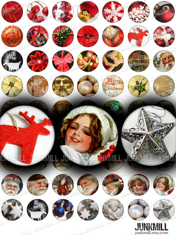 "MERRY MINIS - Digital Printable Collage Sheet - Retro Vintage Christmas Sampler, Holiday Variety, 1"" Circles, 25 mm Round, Instant Download"