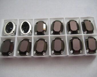 Lot of 3 14x10mm Jet Nut Oval Shaped Swarovski Rhinestones in Sew on Settings
