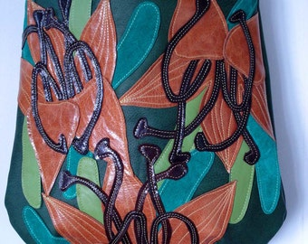 Bucket Bag in Forest green leather with Autumnal Appliqued Lilies