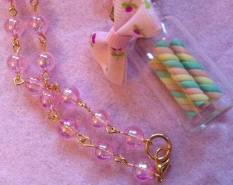 Pastel Rainbow Swirl Candy Cane Stick Glass Jar Bow Necklace