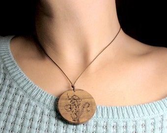 25% SALE Pyrographed wood and felt pendant with snowberry wood-burned - OOAK original design inspired by nature