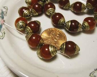 Carnelian Brass Bead - Nepal - 6 pcs.