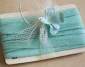 Narrow Vintage French Rapsodie Silk and Rayon Ribbon Aqua Blue