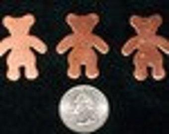 Copper Teddy Bear 1 3/8 x 1 1/4 x 18 gauge - Qty 3
