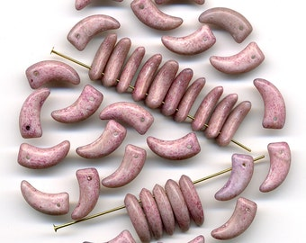 Vintage Picasso Beads 15mm Mottled Pink Flat Claw Shape Made in Austria 36 Pcs.