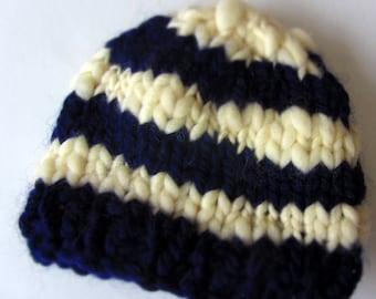 Sailor Stripes.  Baby Photo Prop- Handknit Hat with handspun yarn