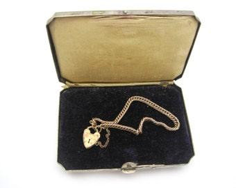 Antique Silver Jewelry Presentation Box - Velvet Lined