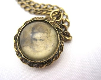 Antique Pools of Light Locket  - Victorian Bubble Pendant - Crystal Ball