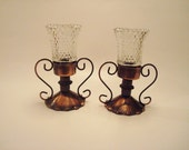 Vintage Tin Metal Candle Holders with Clear Glass Votives Made in Hong Kong