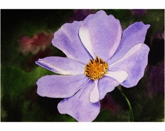Original Watercolor Painting, Flower Painting, Fine Art, Realism, Original Painting, Purple, Purple Whimsy